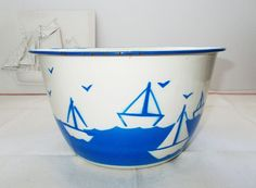 Large French Enamel Bowl Vintage with Boats Blue by LePetitPierrot