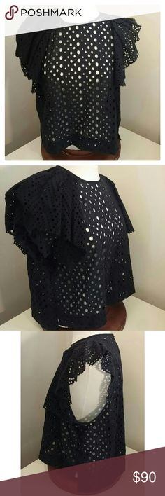 Isabel Marant Vlady French Embroidery Cotton Top 100% Cotton Made in Poland Back keyhole with button closure Ruffled fabric along armholes Eyelet with embroidery stitching detail throughout Size 38 - Medium Isabel Marant Tops