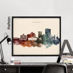 Phoenix poster Phoenix watercolour skyline by iPrintPosters
