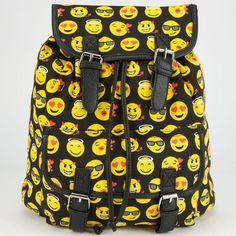 Emoji Backpack (280 ARS) ❤ liked on Polyvore featuring bags, backpacks, accessories, black, black rucksack, backpacks bags, canvas bag, black knapsack and canvas rucksack