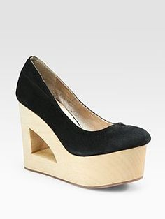 TENOVERSIX  Suede and Carved Wood Wedge Pumps $360