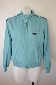 Vintage MEMBERS ONLY Aqua Blue Jacket sz by ilovevintagestuff