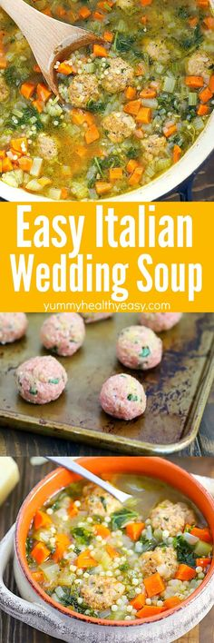 italian wedding soup Looking for a yummy soup recipe that's easy to make? this Italian Wedding Soup Recipe is the one you need! It's a one-pot, healthy, filling, delicious soup tha Best Soup Recipes, Healthy Soup Recipes, Dinner Recipes, Cooking Recipes, Favorite Recipes, Easy Recipes, Italian Wedding Soup Recipe, Pasta Soup, Soup And Salad