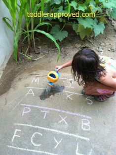 Watering an Alphabet Garden (Photo from Toddler Approved) 20 Outdoor Phonics Activities Toddler Learning Activities, Preschool Literacy, Preschool At Home, Phonics Activities, Alphabet Activities, Early Literacy, Toddler Preschool, Kids Learning, Outdoor Learning