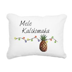 Mele Kalikimaka - Christmas Pineapple Hawaii Rectangular Canvas Pillow
