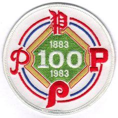 1983 Philadelphia Phillies Baseball 100th Anniversary Patch 1883 Bull Durham, Phillies Baseball, Custom Patches, Vintage Patches, Sports Pictures, Philadelphia Phillies, Mlb, Cross Stitch, Logo Design