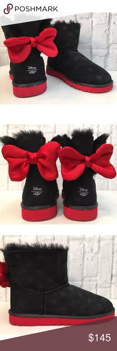 UGG DISNEY SWEETIE BOW Boot  Sz 6 UGG DISNEY SWEETIE BOW Boot  Black Suede W/Black Polka Dots Red Bow in Back Women's SZ 6 NEW WITHOUT BOX  UGG® and Disney® have collaborated to make your dreams come true with the Sweetie Bow bootie. Twin-faced, Grade A sheepskin upper with suede heel guards. Easy on and off that kids can do themselves. Pull-on style features non-adjustable, decorative polka dot pattern and bow at back UGGpure™ lining keep little feet dry and warm. Real sheep fur or lamb has…