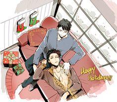 Happy Holidays ... Drawn by bingo 337 ... alexander 'alec' lightwood, malec, magnus bane, the mortal instruments, shadowhunters