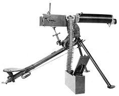 "Maxim MG 08 medium machine gunon its peculiar ""Schlittenlafette"" (sledge mount)"