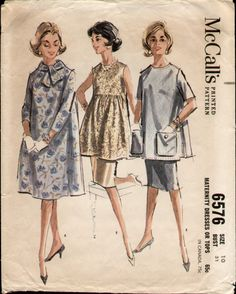 Items similar to McCall's pattern 6576 Misses Maternity Dress or Top from the Early Vintage Printed Sewing Pattern Bust 32 inches on Etsy Maternity Dress Pattern, Maternity Sewing Patterns, Maternity Wear, Maternity Fashion, Maternity Dresses, Maternity Clothing, Maternity Style, Maternity Pictures, Vintage Dress Patterns
