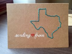Sending love from  US State Hand Embroidered Card  by lovelizzard, $6.00