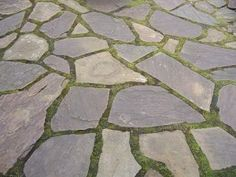 Slabs of slate, stone or broken up concrete.... great for a patios, paths or the garden 'floor'.