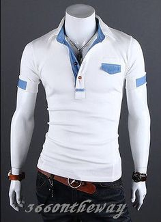 Mens Short Sleeve Shirt with Denim Details Polo Shirt Outfits, Polo T Shirts, Short Sleeve Denim Shirt, Short Sleeves, White Shirt Men, Shirt Style, Mens Tops, Men's Fashion, Fancy Shop