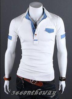 Para Hombre Elegante Casual Slim Fit Manga Corta Polo Camisa Camisetas Tee  Shirt E651 Polo T 3dfe9845ad44c
