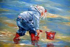 Schilderij kinderen spelen aan het strand - KunstschilderTineke Hoepman