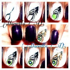 40 Besten Peacock Feather Nail Art Tutorial Video Gallery By Nded