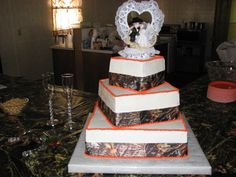 orange and camo wedding cakes - Google Search