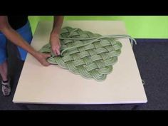 DIY how to weave a rope mat.  An up cycle tutorial for old climbing ropes from Edelrid on youtube.