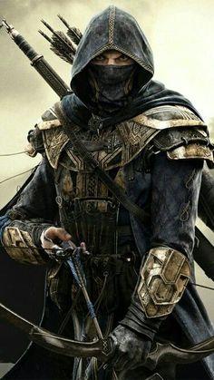 m Ranger Medium Armor Cloak Longbow Longsword male Traveler lg Ninja Kunst, Arte Ninja, Ninja Art, Fantasy Armor, Dark Fantasy Art, Medieval Fantasy, Fantasy Series, Final Fantasy, Dungeons And Dragons Characters