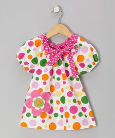 Take a look at this Pink & White Dot Bow Peasant Top - Toddler & Girls by Mis-Tee-V-Us on #zulily today!
