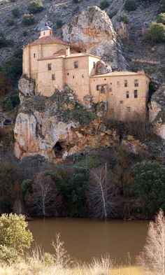 San Saturio Hermitage in Soria - Castile and León, Spain Beautiful Places To Visit, Wonderful Places, Great Places, Places To See, Places Around The World, Around The Worlds, Spain And Portugal, Kirchen, Spain Travel