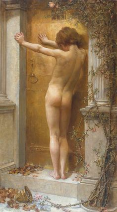 Anna Lea Merritt - Love Locked Out, 1889. Oil on canvas From the Tate Gallery, London: