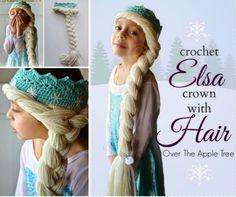 wonderful diy crochet snow queen hat with elsa 39 s braid free pattern zopf m tze und h ckeln. Black Bedroom Furniture Sets. Home Design Ideas