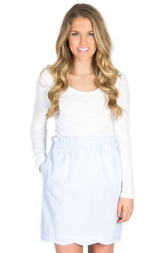 Light Blue Scalloped Skirt - http://www.laurenjames.com/collections/private-collection/products/scallop-seersucker-skirt