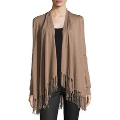 Chelsea & Theodore Fringe-Trim Open-Front Cardigan ($41) ❤ liked on Polyvore featuring tops, cardigans, toasty tau, drape top, long sleeve cardigan, brown cardigan, brown fringe top and long sleeve open cardigan
