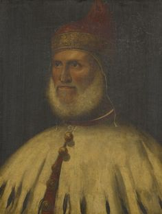 A head and shoulders portrait of Doge Andrea Gritti. Facing to the left, he is dressed in the Doge's cap and ermine mantle. From 1516 it was Titian's duty to produce the official images of the Doges, particularly for the Maggior Consiglio (although this set was lost in the second Palazzo Ducale fire of 1577). Andrea Gritti was Doge 1523-38, but Titian was paid for his Maggior Consiglio portrait on 18 August 1540.