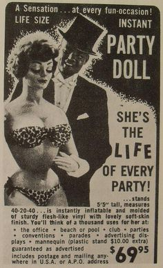 1960s vintage advertisement PARTY DOLL - good grief - look at the price - back then that was a ton of money...what men won't do..haha
