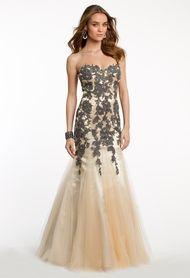 Strapless Lace Applique Godet Dress