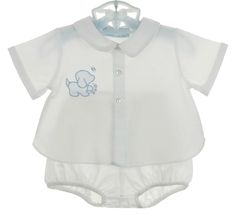 NEW Hand Embroidered White Diaper Set with Blue Appliqued Puppy $50.00 #DiaperSets #DiaperShirts