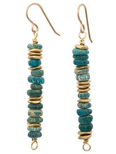 Shades of turquoise ancient glass beads with brass accent earrings. ✥ Bronze ear wires ✥ 2 inches from bottom of ear wire I design and handcraft each piece in my studio in Albuquerque, New Mexico. Jew
