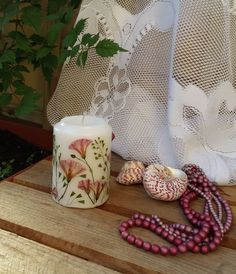 Dried flower candle, Handmade candle, botanical candle,
