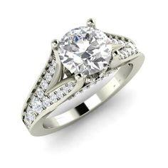 Round White Topaz  and Diamond  Sidestone Ring in 14k White Gold