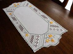 HARDANGER Embroidery - TABLE RUNNER with TULIPS for SPRING - handmade