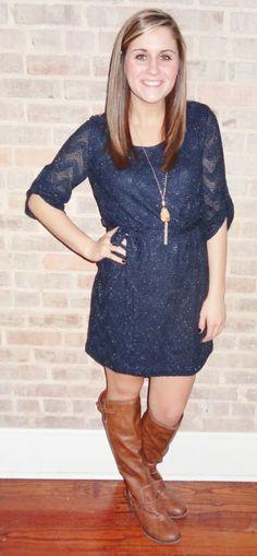 Navy winter dress with subtle glittery details super cute winter fashion - Studio 3:19