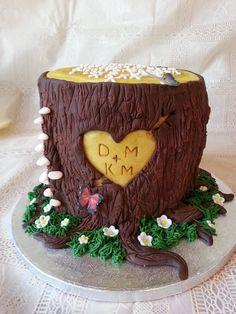 Wooden Anniversary Cake