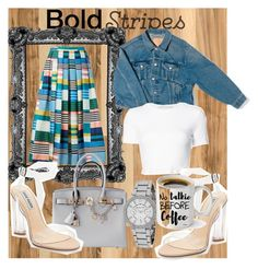 """bold stripes"" by isabella-guran on Polyvore featuring Home Decorators Collection, L.K.Bennett, Hermès, Steve Madden, Balenciaga, Rosetta Getty, Michael Kors and BoldStripes"