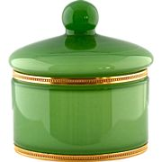 Vintage Italian Green Opaline glass Lidded Powder jar or Box w/ gold plated Brass Mounts