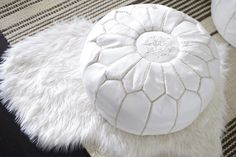 White Moroccan pouf ottomans