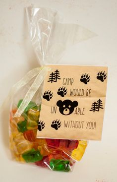 Girls Camp Pillow Treat Handout Gummy Bear by HappyCoPrints