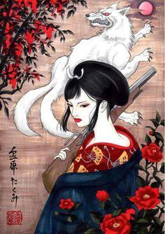 日本画風エボシ御前とモロの君 #もののけ姫 #エボシ御前 #モロ