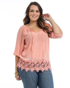PLUS SIZE 3X Women Sheer Chiffon Top Peach Crotched Hem Scoop Neck ¾ Sleeves  #ARAZA #Tunic #Casual