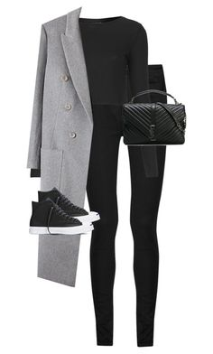 """""""Untitled #12650"""" by alexsrogers ❤ liked on Polyvore featuring Yves Saint Laurent, Topshop and Converse"""