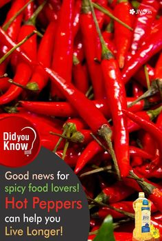 #DidYouKnow  Good news for spicy food lovers! Hot Peppers can help you Live Longer!  Hot peppers are the unofficial superfood we all need. They help you lose weight, jumpstart metabolism, and stimulate endorphins as a proven aphrodisiac. And based on a new study, they harness one more superpower: immortality.  Share & Spread!