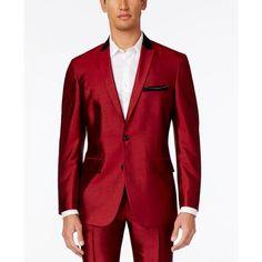 Inc International Concepts Men's Shiny Blazer, ($97) ❤ liked on Polyvore featuring men's fashion, men's clothing, men's sportcoats, burgandy, mens clothing, mens blazer jacket, men's apparel and mens blazers