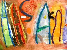 School at St. George Place Creation Station Elementary Art Blog: Name Resist Painting Collages by Pre-K