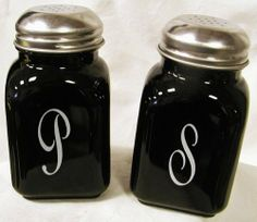 """Square Solid Black Glass Salt & Pepper Shakers Script S & P by Mosser Glass. $39.99. Hand made in America. Solid glass. Great for cooks. 10oz. Metal Tops. Glass Salt and Pepper Shaker Set with a Script Style """"S"""" & """"P"""". 10 oz. Each shaker measures 4 3/4"""" in height. Made in USA!. Save 43%!"""